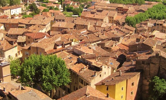 Village houses from above in Cotignac