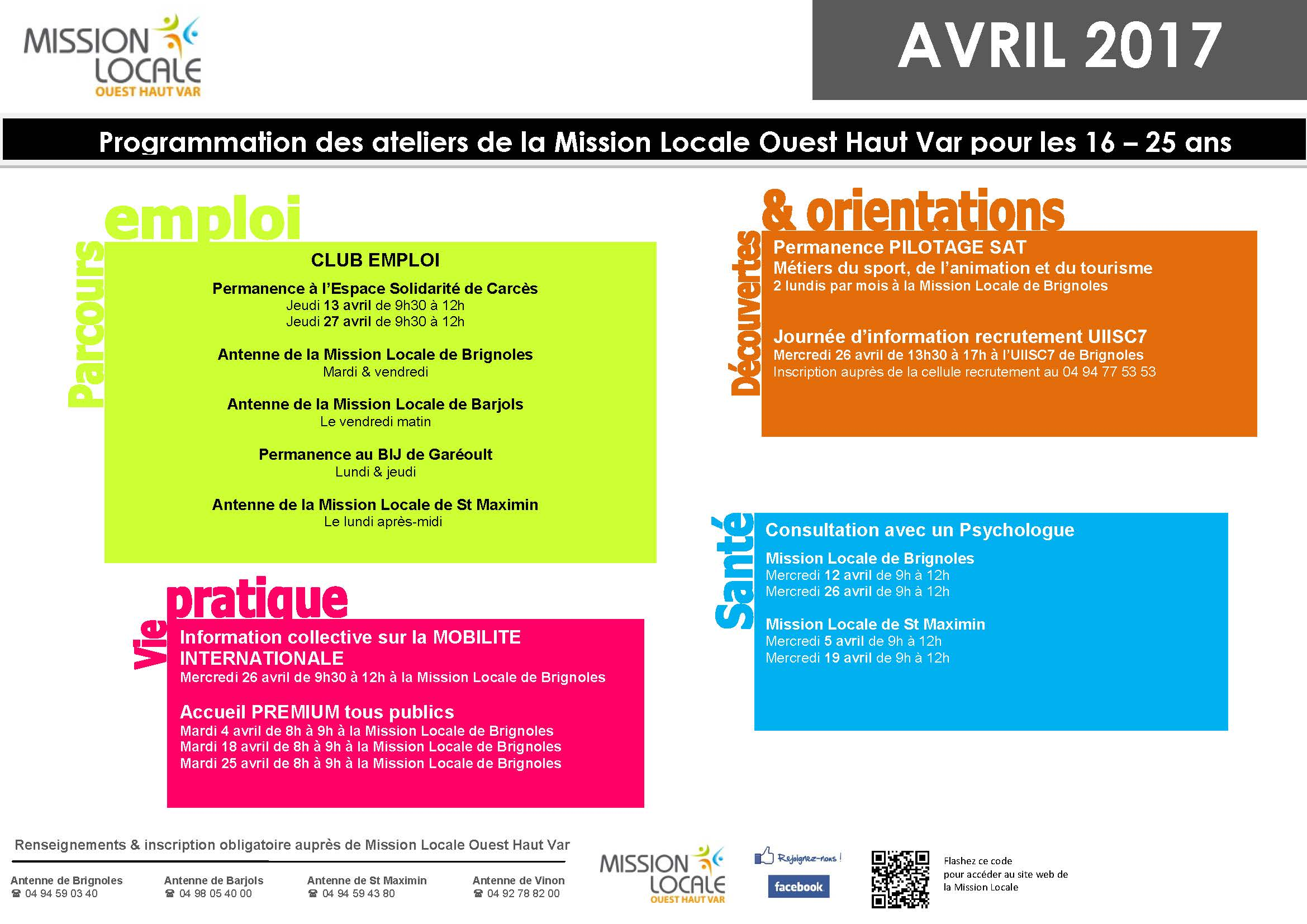 Affiche ATELIERS MISSION LOCALE - Avril 2017
