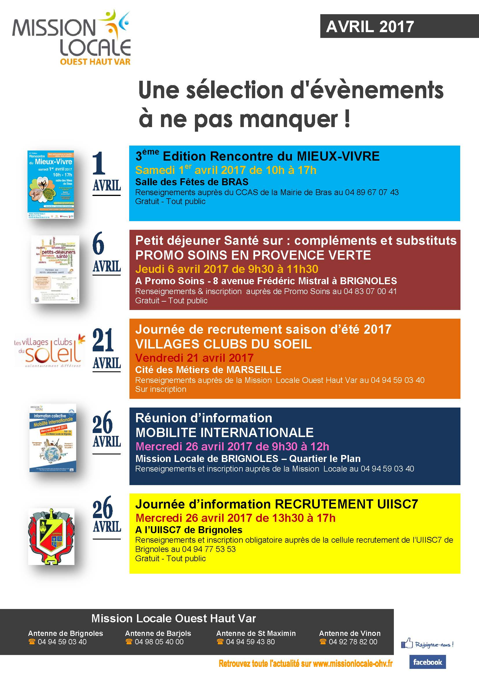 Affiche EVENEMENTS A NE PAS MANQUER - Avril 2017