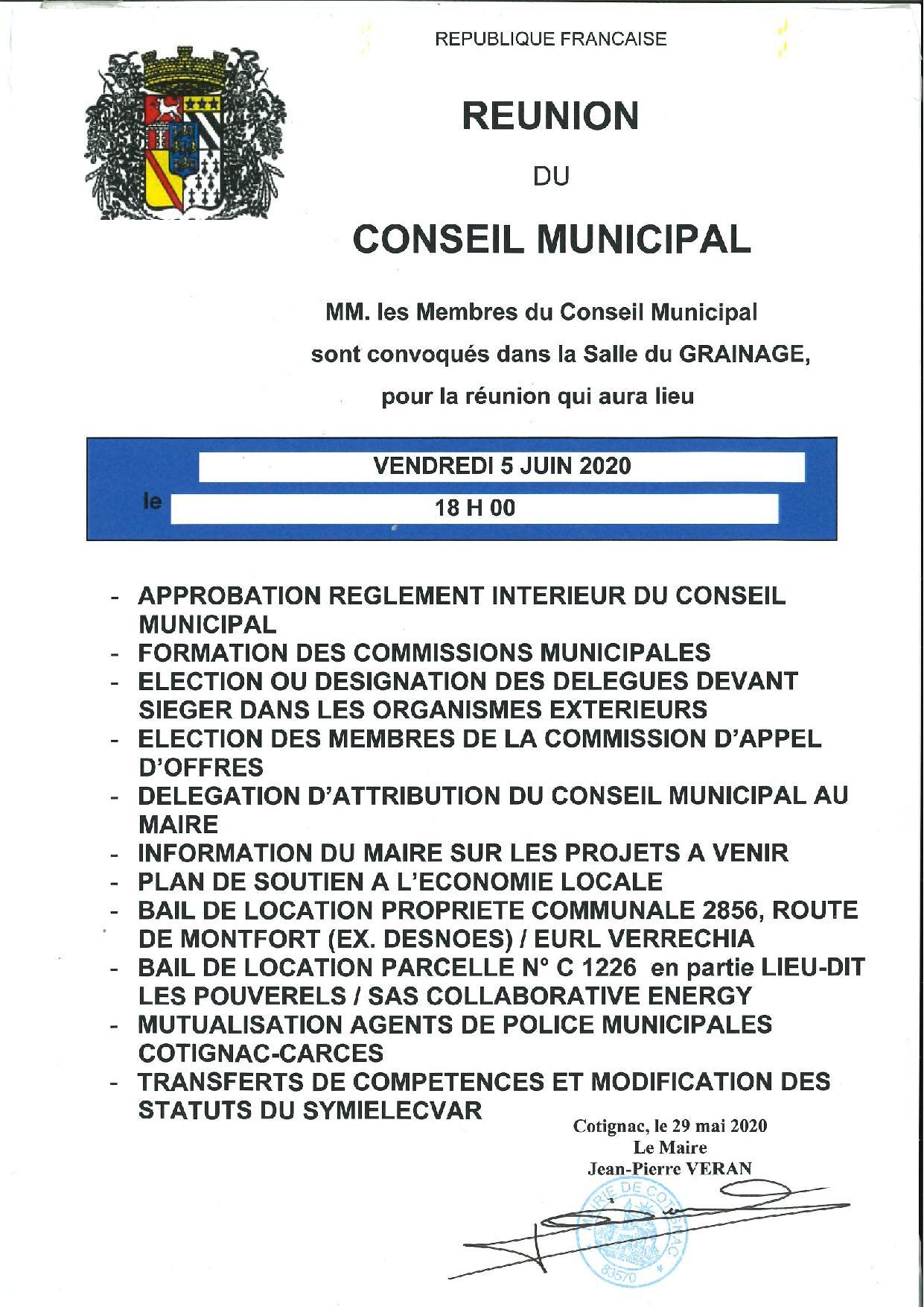 Réunion du Conseil Municipal du vendredi 05 juin 2020 à 18h :